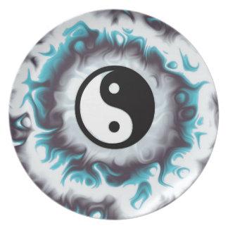 Assiette Flamme de Yin Yang Teal