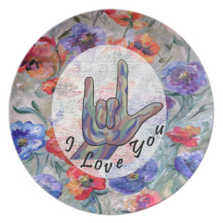 Assiette Fleurs d'ASL et je t'aime