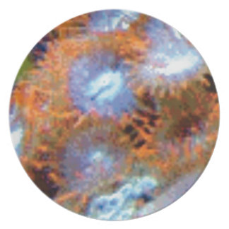 Assiette fleurs oranges de doigt d'océan