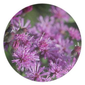 Assiette Fleurs sauvages géants pourpres d'herbe de