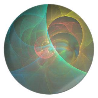 Assiette Fractale abstraite multicolore