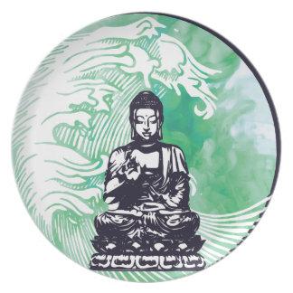 Assiette Fumée d'émeraude de vague de Bouddha d'ouragan