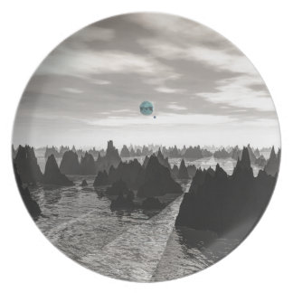Assiette Globes bleus mystérieux