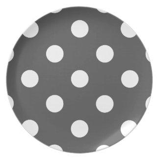 Assiette Grand pois - blanc sur gris-foncé