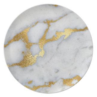 Assiette Gris métallique en pierre de marbre Carrare d'or