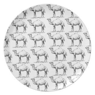 Assiette groupe de troupeau de chameaux