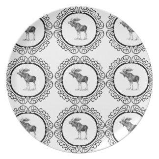 Assiette groupe d'orignaux de taureau