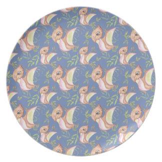 Assiette Illustration tirée par la main de dinosaure de png