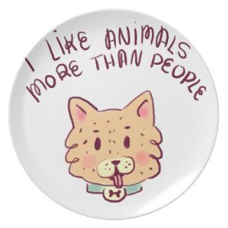 Assiette J'aime des animaux davantage que des personnes,