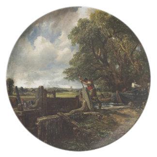 Assiette John Constable - la serrure - paysage de campagne