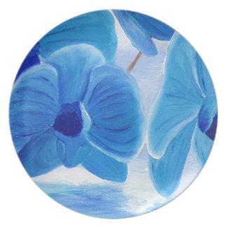 Assiette Joie sophistiquée chique élégante d'orchidée bleue