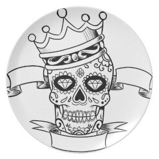 Assiette Jour de crâne du crâne mort de sucre de couronne