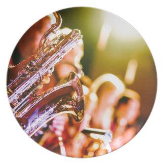 Assiette Klaxons de saxophones d'instruments de musique de