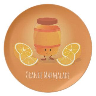 Assiette La confiture d'oranges de sourire bloquent le plat