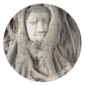 Assiette La tête de Bouddha dans l'arbre de Bodhi,