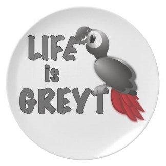 Assiette La vie est Greyt - grand perroquet de gris
