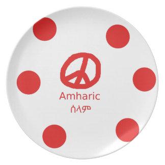 Assiette Langue et conception amhariques de symbole de paix