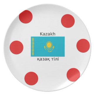 Assiette Langue kazakh et conception de drapeau de