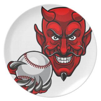 Assiette Le base-ball de diable folâtre la mascotte