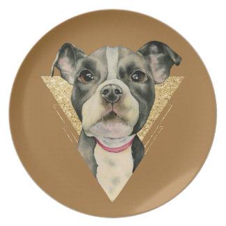 """Assiette Le """"chiot observe"""" l'aquarelle de chien de pitbull"""