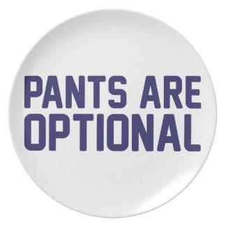 Assiette Le pantalon est facultatif