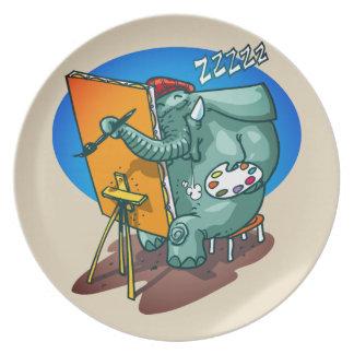 Assiette l'éléphant le peintre est bande dessinée drôle de