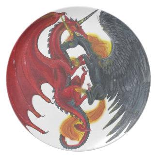 Assiette Licorne noire du feu et dragon rouge