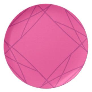 Assiette Ligne géométrique magenta lumineuse motif