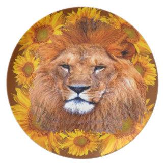 Assiette lion africain fauve et cadeaux jaunes de