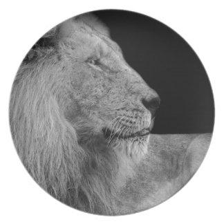 Assiette LION le roi de LION de la jungle en noir et blanc