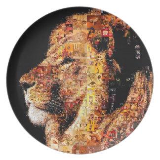Assiette Lion sauvage - collage de lion - mosaïque de lion