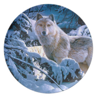 Assiette Loup arctique - loup blanc - art de loup