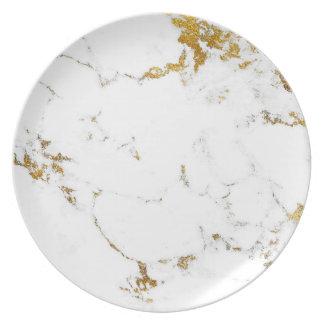 Assiette Lux lumineux en pierre de marbre d'or blanc de