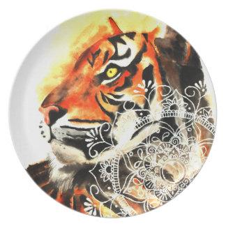 Assiette Mandala de tigre d'aquarelle