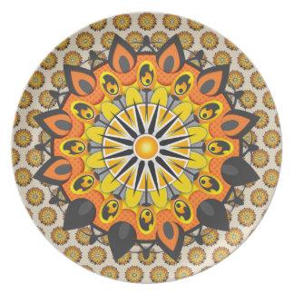Assiette Mandala-Jaune