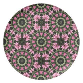Assiette Mandala-style floral, fleurs roses, mandala 2,2