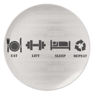 Assiette Mangez, soulevez, dormez, répétez - le plat de