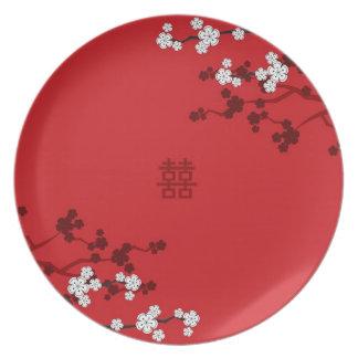 Assiette Mariage chinois de double bonheur de fleurs de