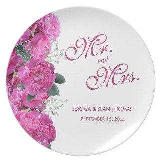 Assiette Mariage romantique de bouquet floral