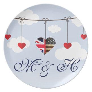 Assiette Mariage royal de coeurs américains britanniques