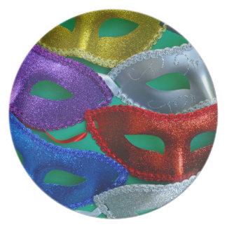 Assiette Masques colorés de parties scintillantes