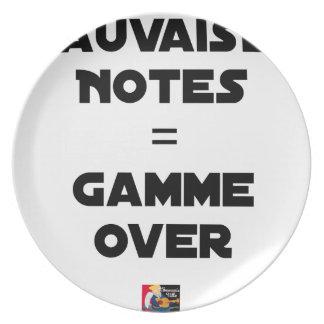 Assiette MAUVAISES NOTES = GAMME OVER - Jeux de mots