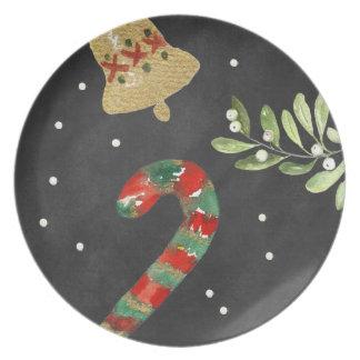 Assiette Mélamine de sucre de canne de plat de Noël de