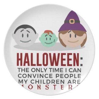 Assiette Mes enfants sont conception de Halloween de