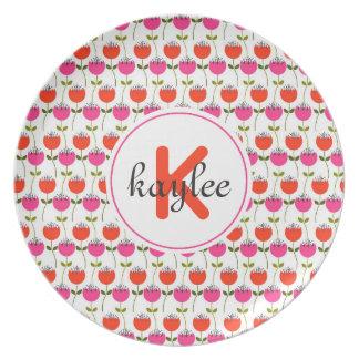 Assiette Monogramme floral Girly de la tulipe rose et rouge