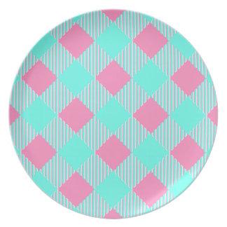 Assiette Motif à la mode rose et bleu chic de contrôle