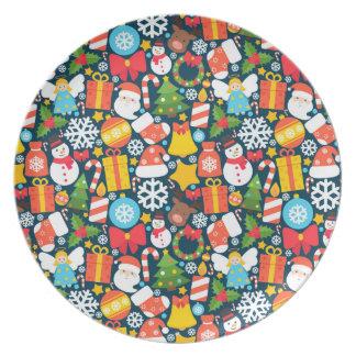 Assiette Motif animated coloré d'icône de caractère de Noël