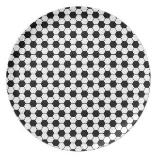 Assiette Motif de football en noir et blanc