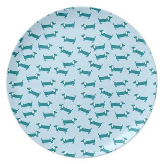 Assiette Motif de teckel dans la combinaison bleue