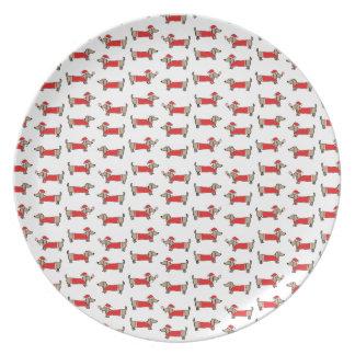 Assiette Motif de teckel de Noël